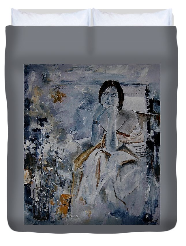 Girl Duvet Cover featuring the painting Eglantine 679011 by Pol Ledent