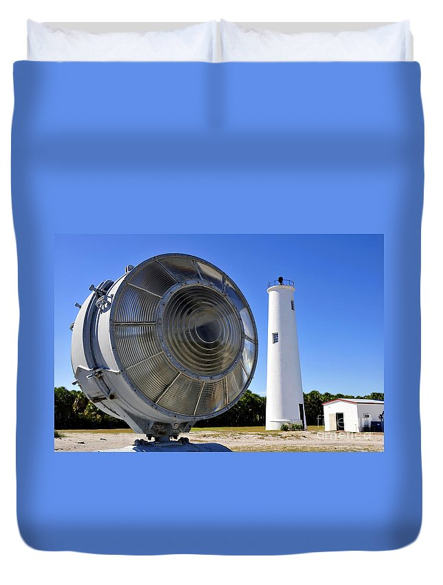 Fine Art Photography Duvet Cover featuring the photograph Egmont Key Lighthouse 1858 by David Lee Thompson
