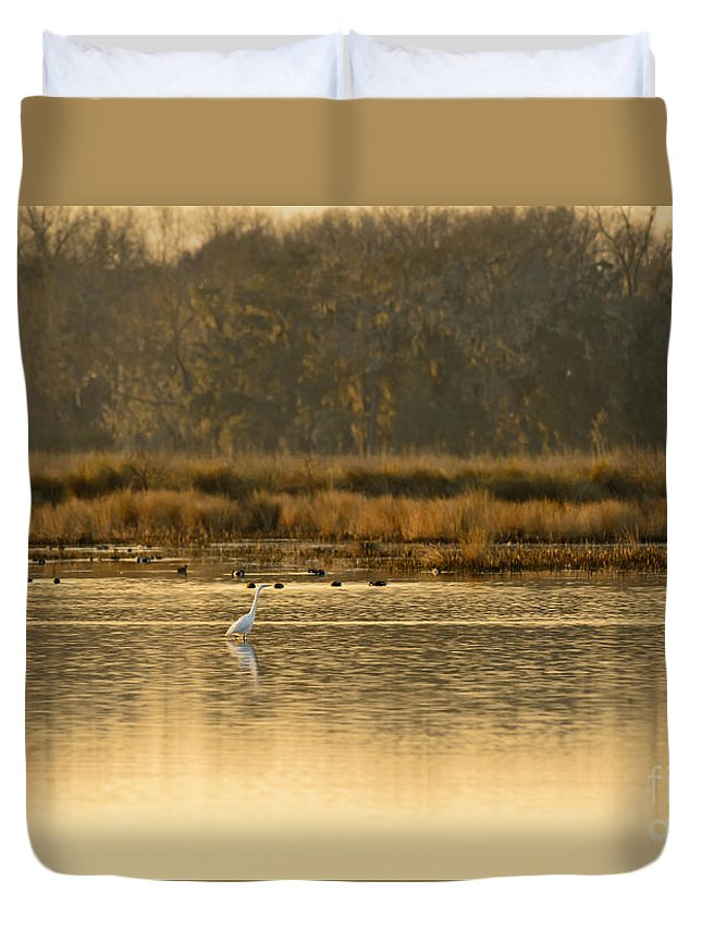 White Duvet Cover featuring the photograph Egret In The Low Country by Chip Laughton