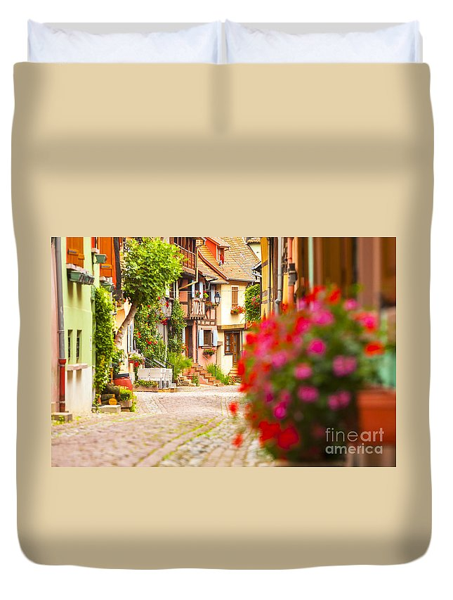 Alsace Duvet Cover featuring the photograph Half-timbered House, Eguisheim, Alsace, France by Marco Arduino