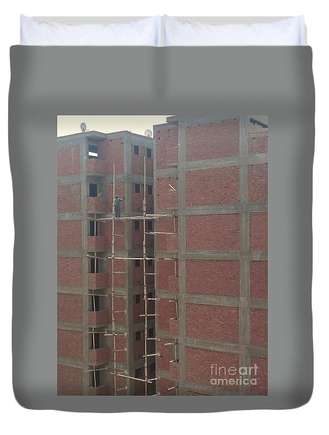 Egyptian Builders Spider Man Bricks Wood Construction Duvet Cover featuring the photograph Egyptian Builders by Mina Milad