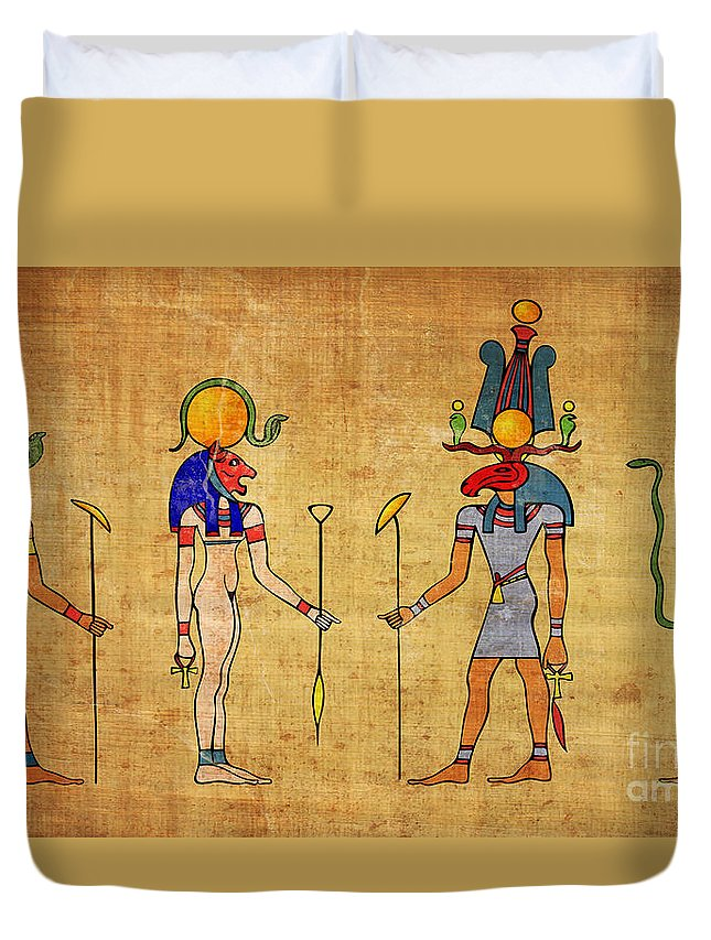 Egypt Duvet Cover featuring the digital art Egyptian Gods And Goddness by Michal Boubin