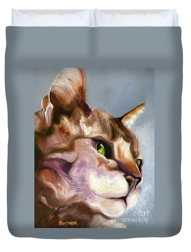 Cat Duvet Cover featuring the painting Egyptian Mau Princess by Susan A Becker