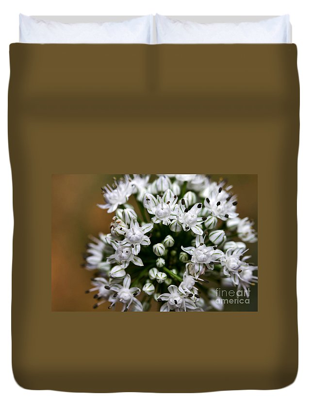 Flower Duvet Cover featuring the photograph Egyptian Onion by Louise Heusinkveld