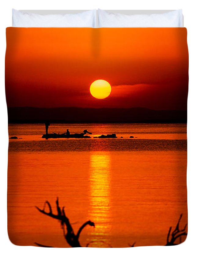 Africa Duvet Cover featuring the photograph Egyptian Sunrise On Lake Nasser by Julian Wicksteed