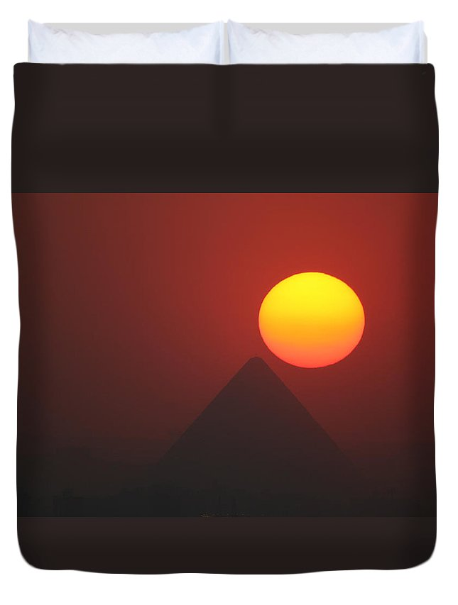 Pyramid Duvet Cover featuring the photograph Egyptian Sunset by Donna Corless