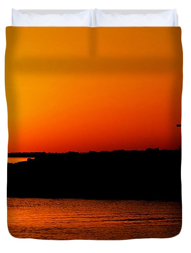 Africa Duvet Cover featuring the pyrography Egyptian Sunset On Lake Nasser by Julian Wicksteed