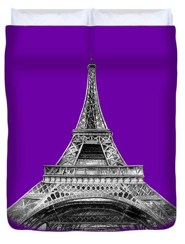 Vintage Duvet Cover featuring the painting Eiffel Tower Design by Irina Sztukowski