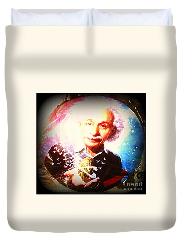 Duvet Cover featuring the photograph Einstein On Pot by Kelly Awad
