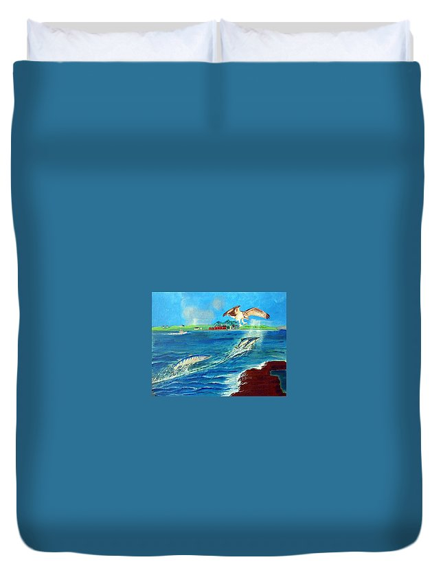 Osprey Duvet Cover featuring the painting Either Way by Richard Le Page