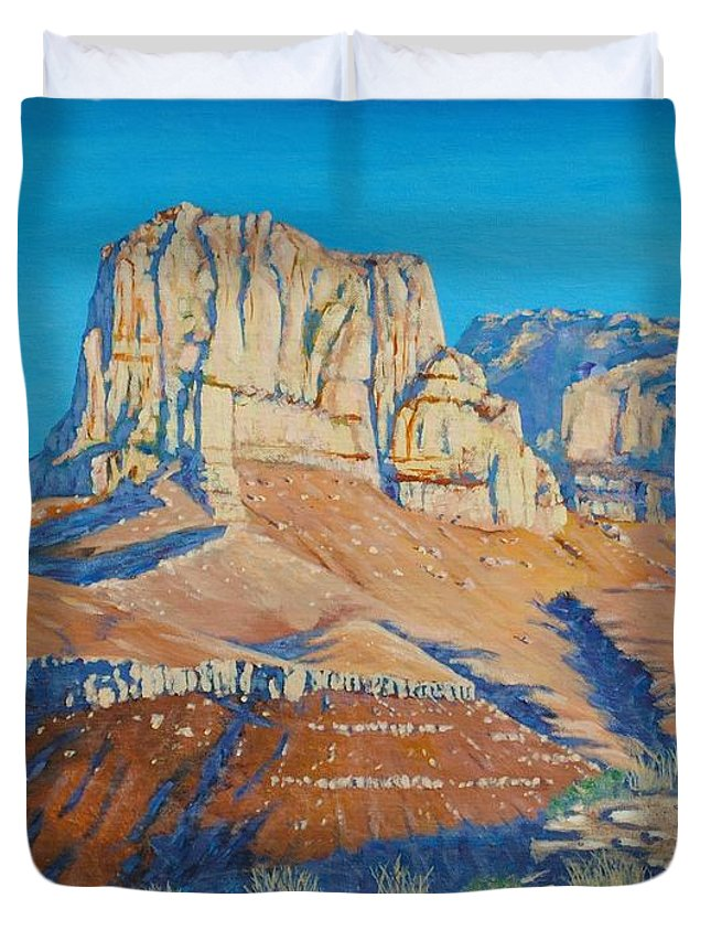 Guadalupe Mountains National Park Duvet Cover featuring the painting El Capitan At The Guadalupe Peaks by Paul Larson