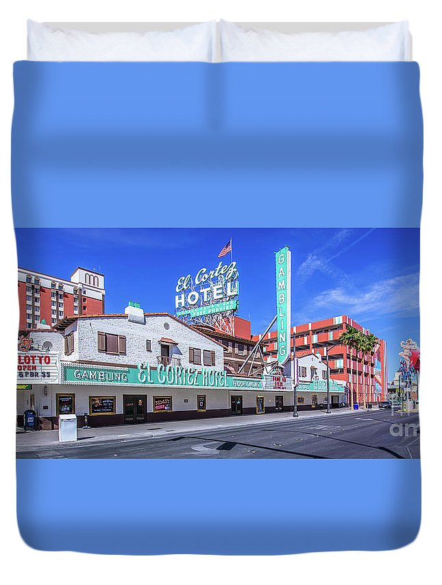El Cortez Hotel Duvet Cover featuring the photograph El Cortez Hotel On Fremont Street 2.5 To 1 Ratio by Aloha Art