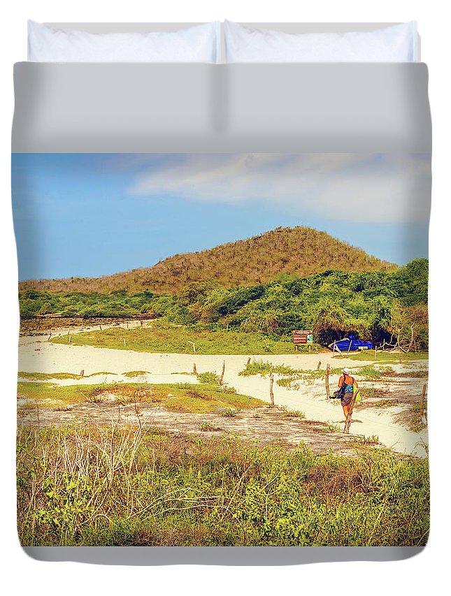 Santa Cruz Duvet Cover featuring the photograph El Garrapatero Beach On Santa Cruz Island In Galapagos. by Marek Poplawski