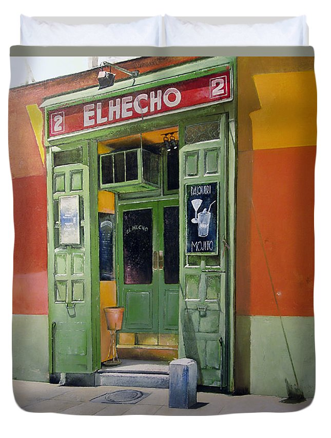 Hecho Duvet Cover featuring the painting El Hecho Pub by Tomas Castano