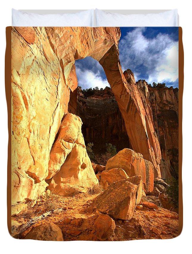 El Malpais Duvet Cover featuring the photograph El Malpais La Ventana Arch by Adam Jewell