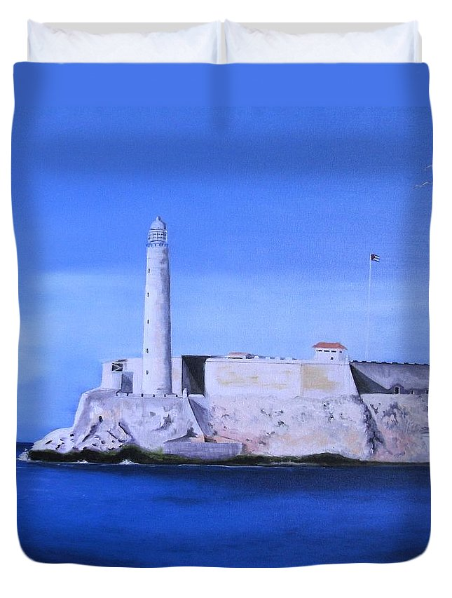 Lgihthouse Duvet Cover featuring the painting El Morro Havana Cuba by Maria Mills