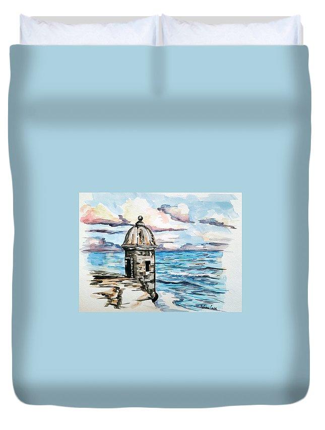 San Juan Duvet Cover featuring the painting el Morro by Katrina Case
