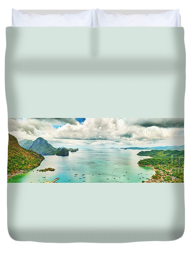 Panorama Duvet Cover featuring the photograph El Nido Bay by MotHaiBaPhoto Prints