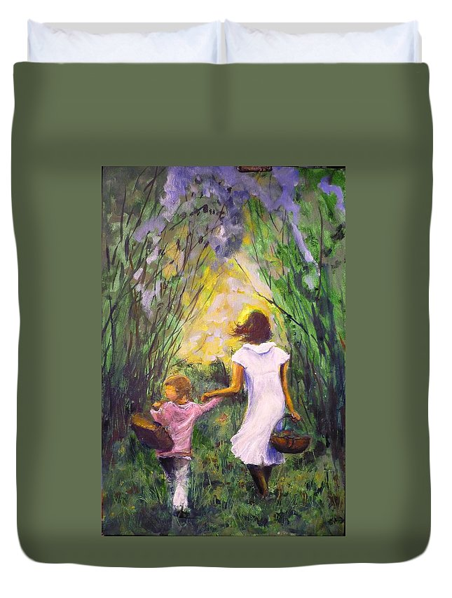 Trees Duvet Cover featuring the painting El Paseo by Lizzy Forrester
