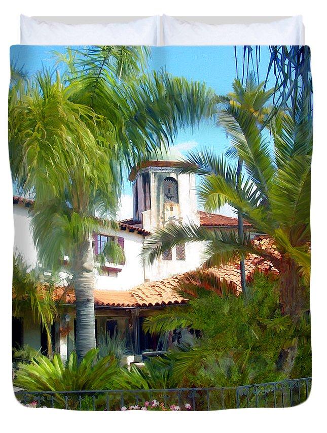 Santa Barbara Duvet Cover featuring the photograph El Presidio by Kurt Van Wagner