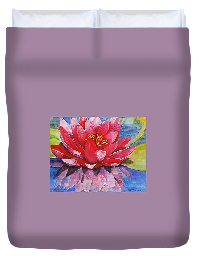 Lily Duvet Cover featuring the painting Ela Lily by Jun Jamosmos