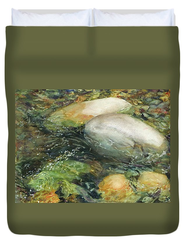 River Rocks Duvet Cover featuring the painting Elbow River Rocks 2 by Madeleine Arnett