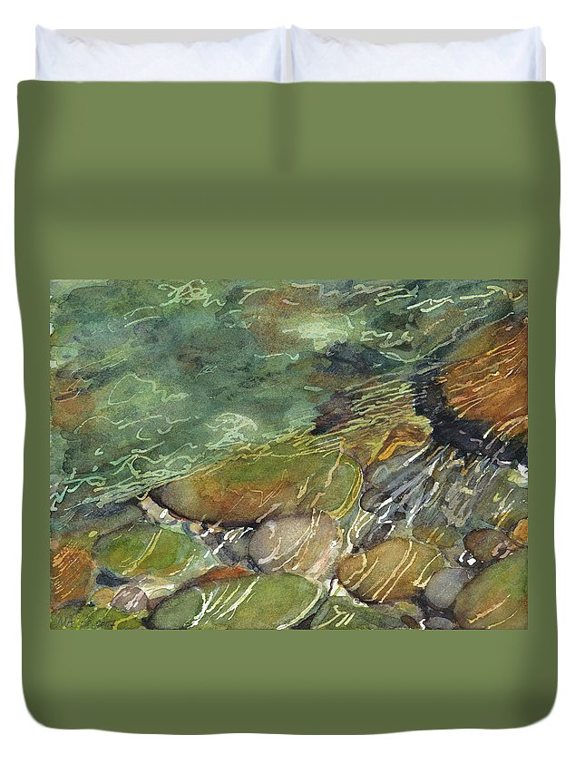 River Rocks Duvet Cover featuring the painting Elbow River Rocks 3 by Madeleine Arnett