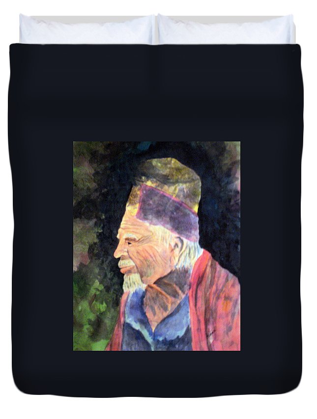 Elder Duvet Cover featuring the painting Elder by Susan Kubes