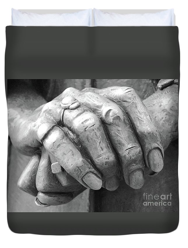 Elderly Duvet Cover featuring the photograph Elderly Hands by Jost Houk