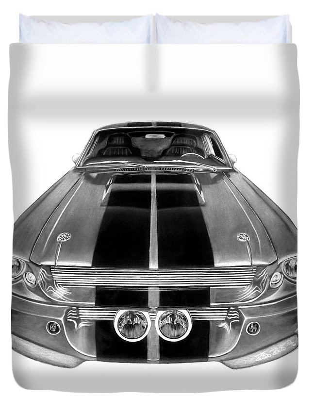 Eleanor Inverted Duvet Cover featuring the drawing Eleanor Ford Mustang by Peter Piatt