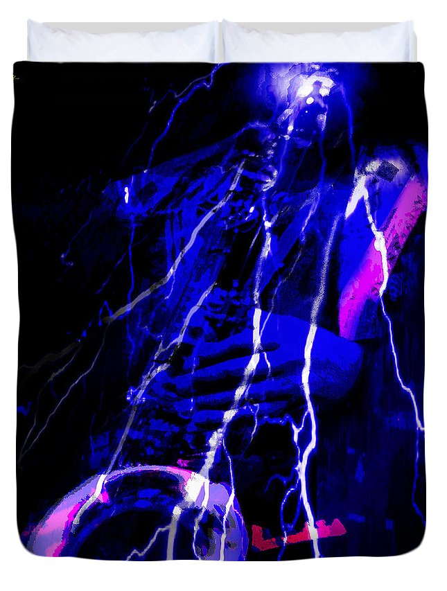 Jazz Duvet Cover featuring the digital art Electric Ave. by Ken Walker