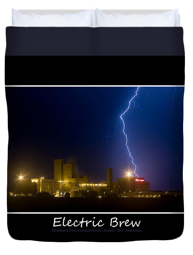 Budweiser Duvet Cover featuring the photograph Electric Brew Poster by James BO Insogna