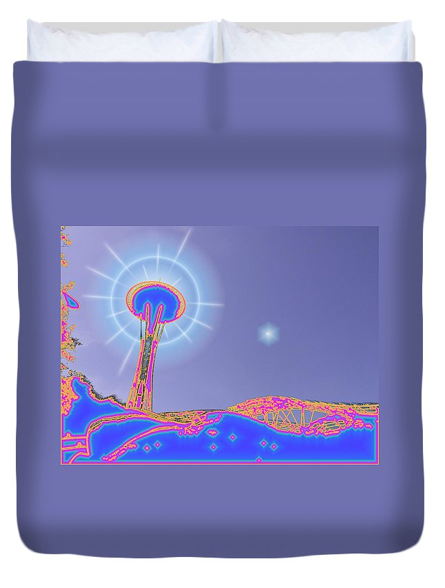 Seattle Duvet Cover featuring the photograph Electric Needle by Tim Allen