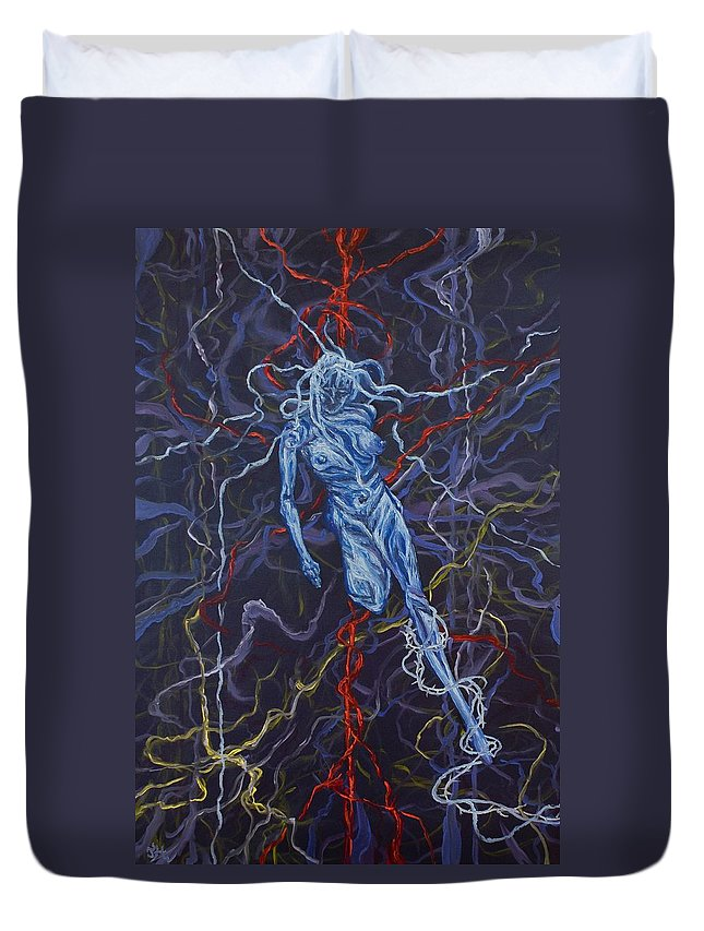 Pain Duvet Cover featuring the painting Electric Pain by Judy Henninger