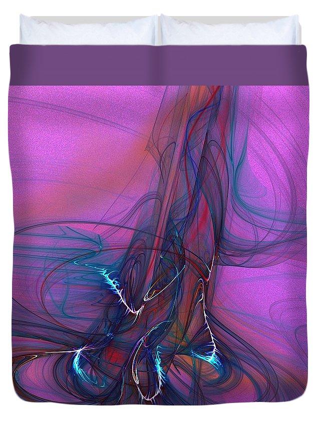 Fine Art Duvet Cover featuring the digital art Electric Pocket Rocket Orgasm  by David Lane