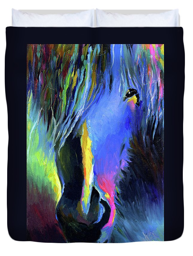 Vibrant Horse Painting Prints Duvet Cover featuring the painting electric Stallion horse painting by Svetlana Novikova