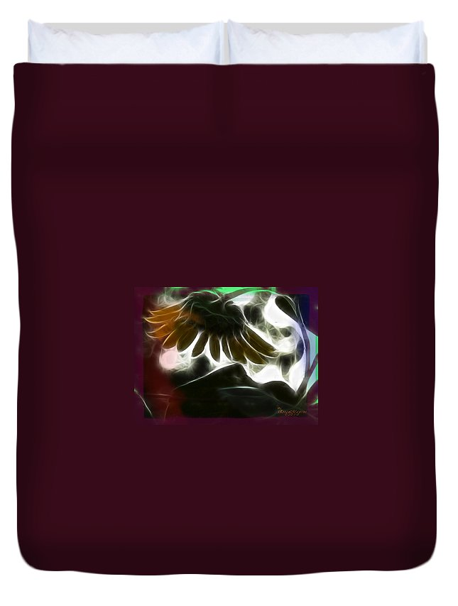 Tn Duvet Cover featuring the photograph Electric Sunflower by Ericamaxine Price