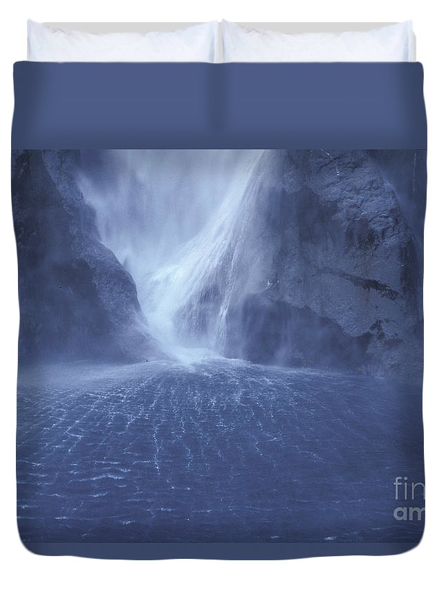 Milford Sound Duvet Cover featuring the photograph Electric Water - Milford Sound by Sandra Bronstein