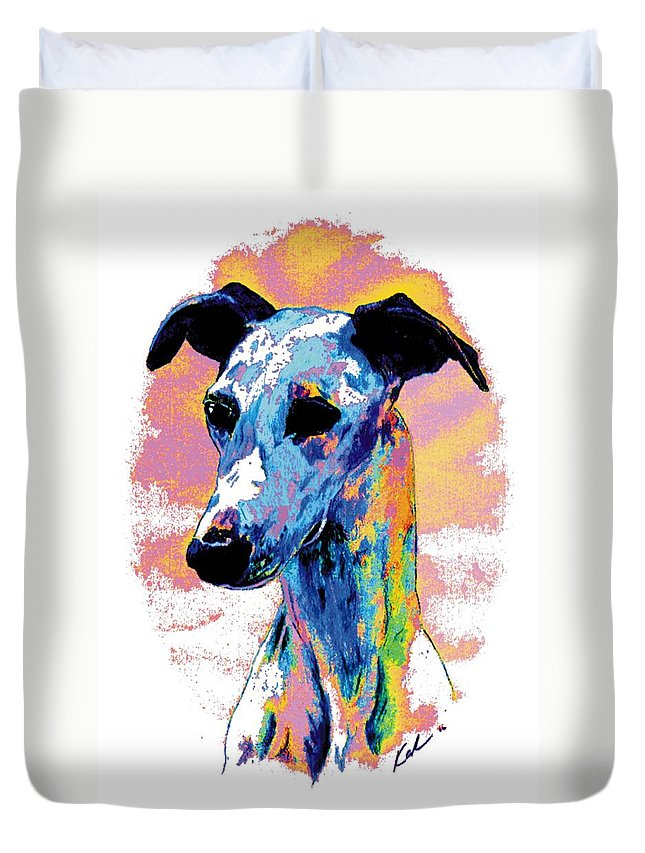 Electric Whippet Duvet Cover featuring the digital art Electric Whippet by Kathleen Sepulveda