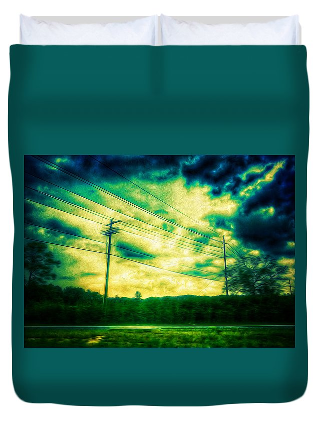 Powerlines Duvet Cover featuring the photograph Electric Wires Across The Land by Kevin Goss