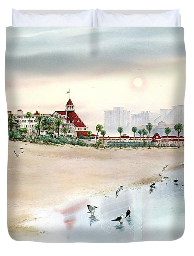 Expensive Watercolor Painting Duvet Cover featuring the painting Elegance By The Sea, Coronado by John YATO