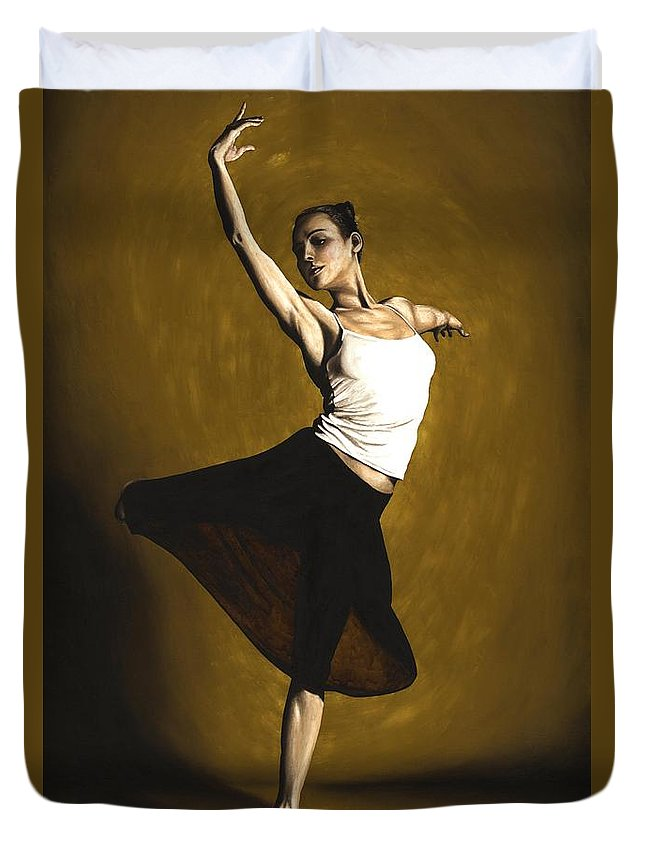 Elegant Duvet Cover featuring the painting Elegant Dancer by Richard Young