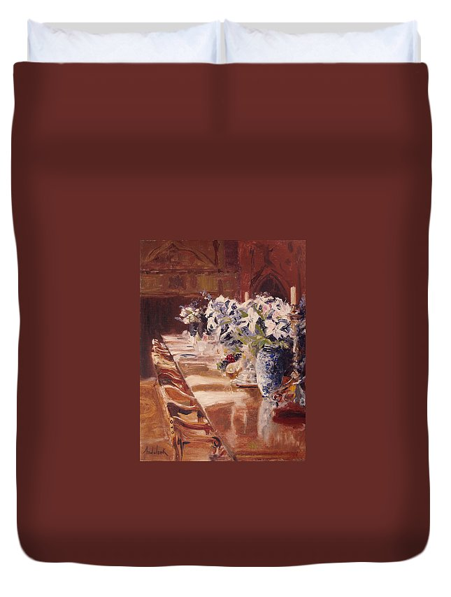 Vases Duvet Cover featuring the painting Elegant Dining At Hearst Castle by Barbara Andolsek