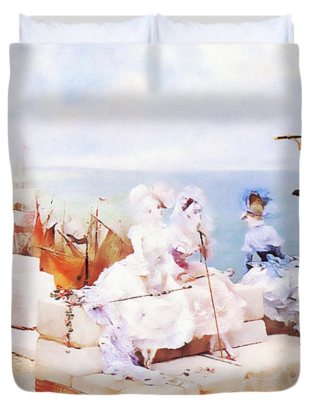 Landscape Duvet Cover featuring the painting Elegant Figures Watching The Regatta by Media Impasto Paper