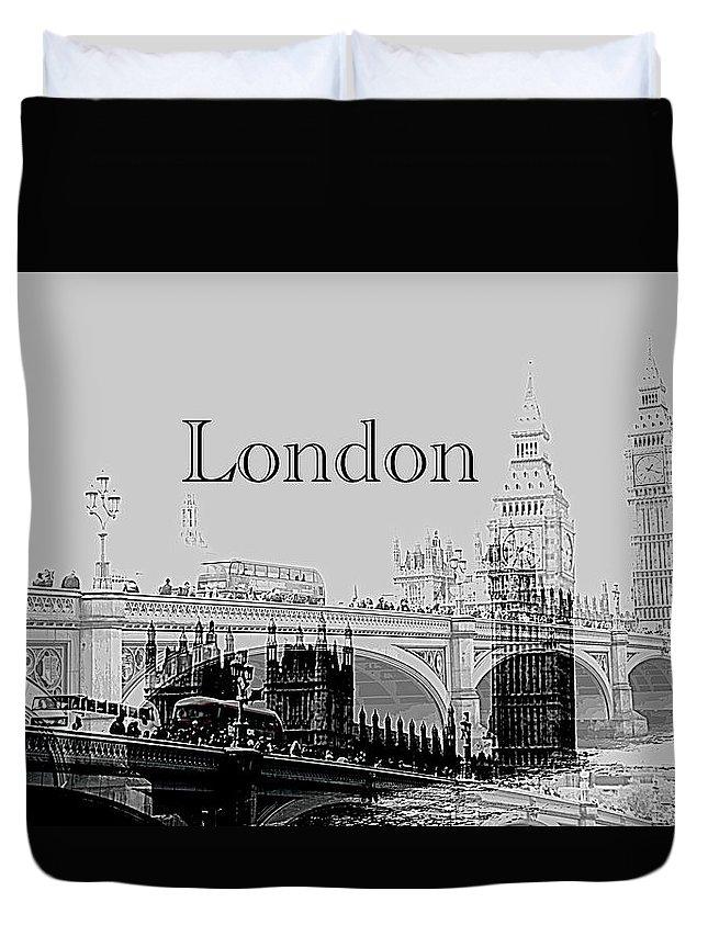 London Imprinted Over London Bridge Duvet Cover featuring the photograph Elegant London by Karen McKenzie McAdoo