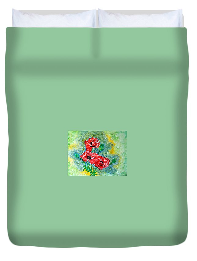 Poppies Flowers Red Yellow Green Blue Acrylic Watercolor Yupo Elegant Landscape Duvet Cover featuring the painting Elegant Poppies by Manjiri Kanvinde