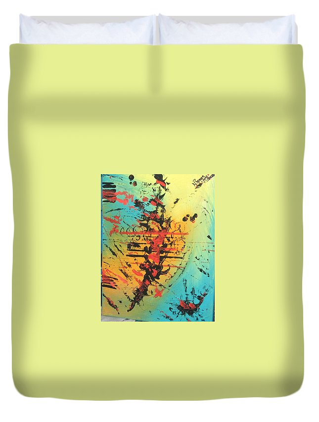 Bold Duvet Cover featuring the painting Element Of Fear by Norma Roman