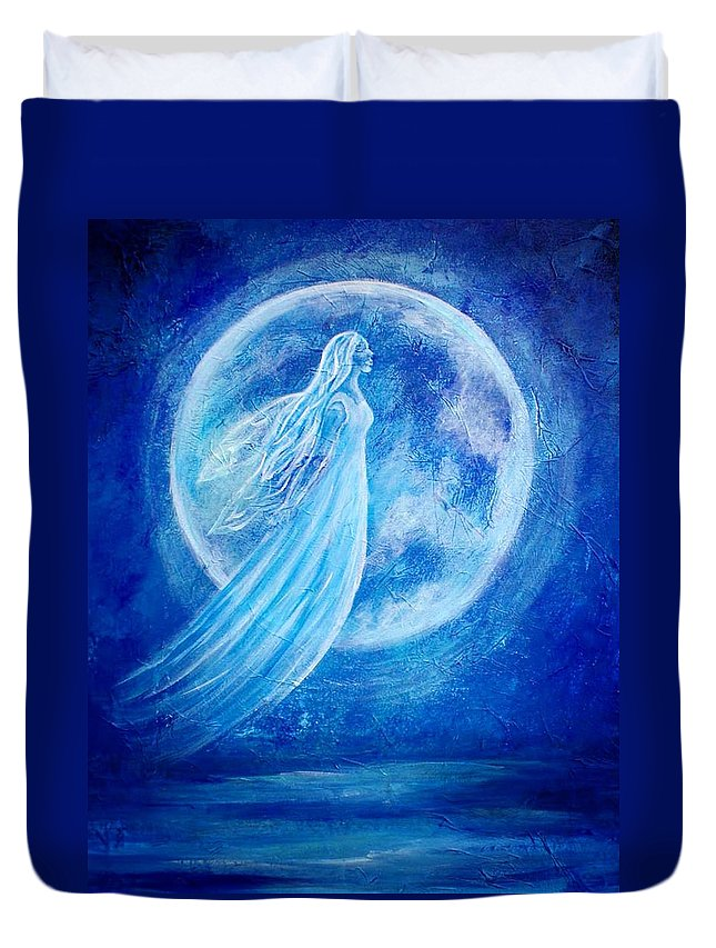 Angel Duvet Cover featuring the painting Elemental Earth Angel Of Water by The Art With A Heart By Charlotte Phillips