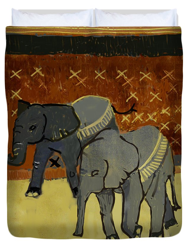 Animal Duvet Cover featuring the painting Elephant Calves by Thomas Tribby