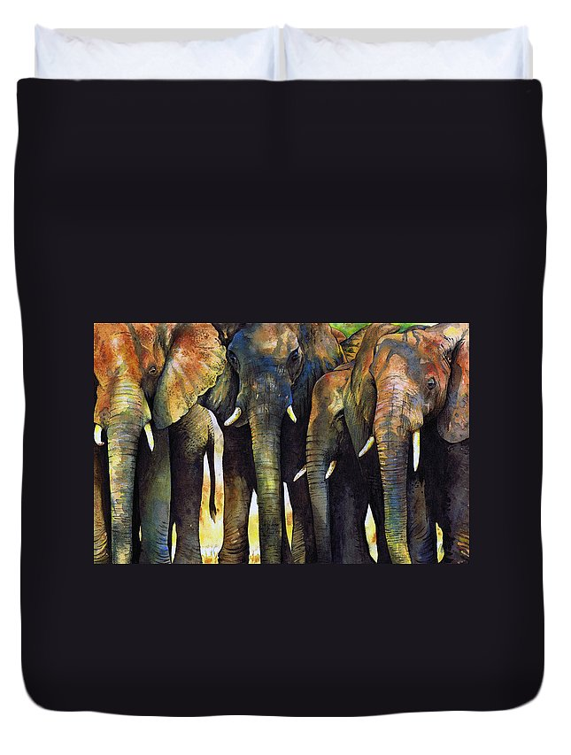 Elephant Duvet Cover featuring the painting Elephant Herd by Paul Dene Marlor